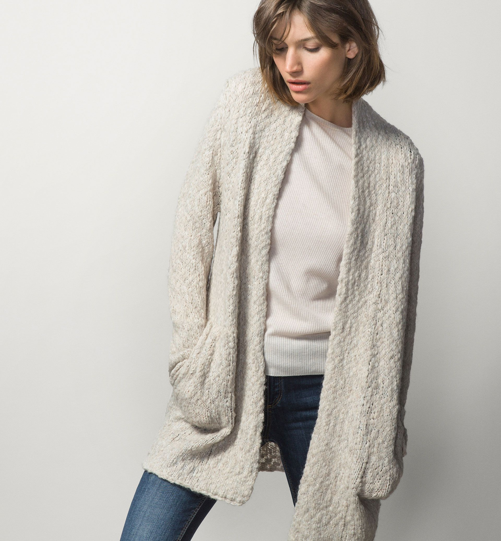 LONG CARDIGAN WITH POCKETS | Style | Pinterest | Long cardigan and ...