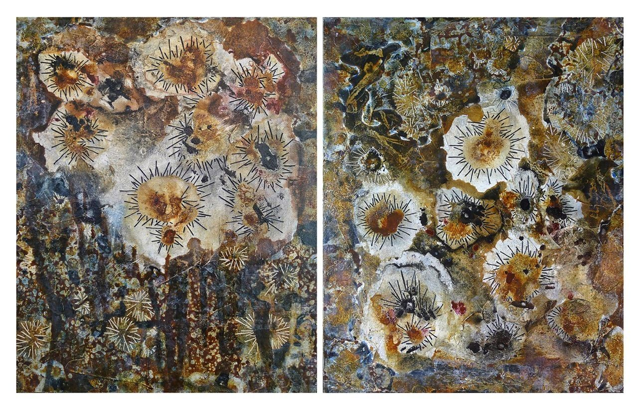 Joanie San Chirico - Brown Tide Diptych | From a unique collection of abstract paintings at http://www.1stdibs.com/art/paintings/abstract-paintings/