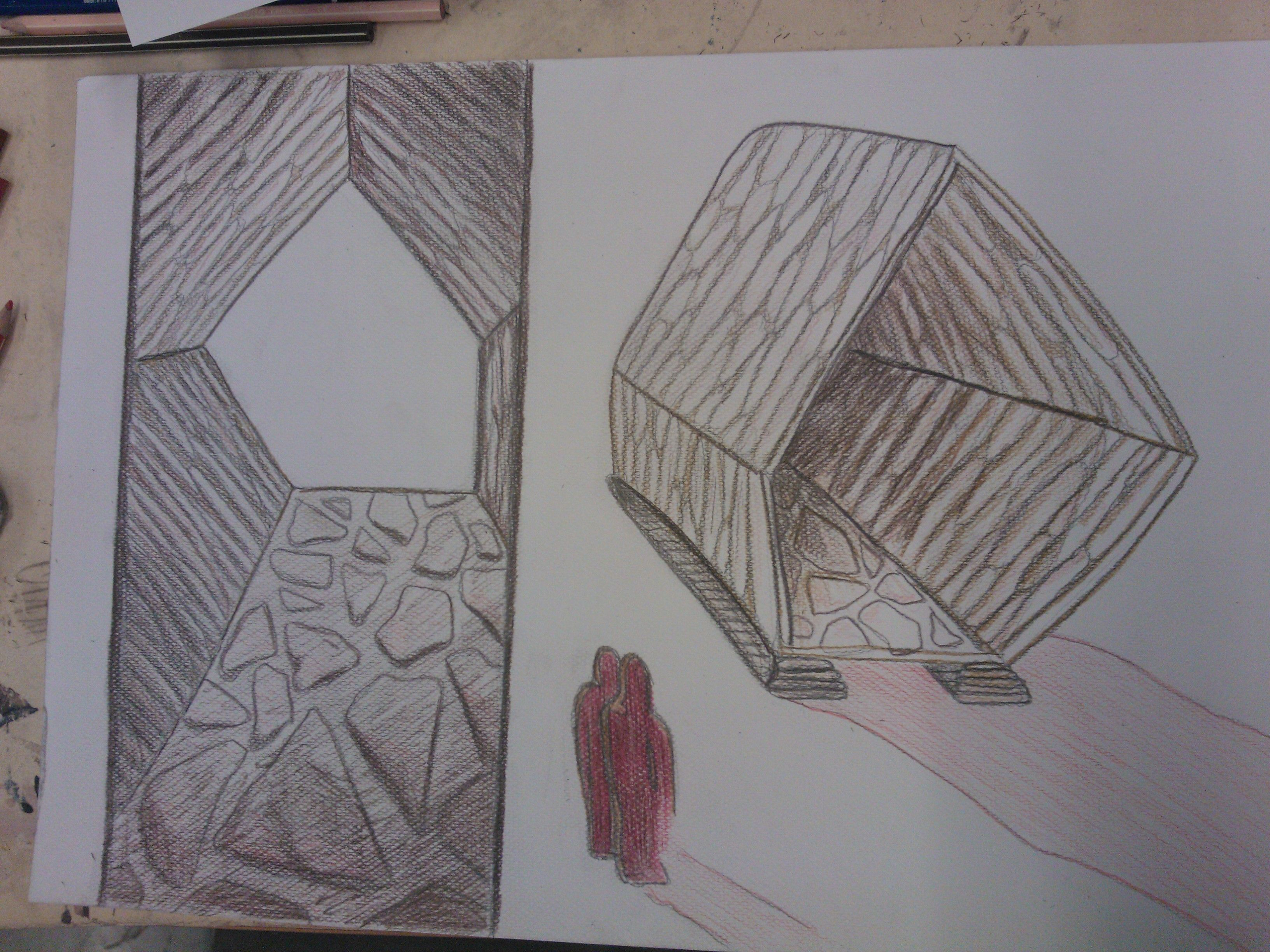 I like clean shapes. Made by pencil and colors to a A3. on the left wiew from inside