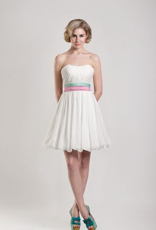Short Wedding Dress Goddess Strapless Ruched Chiffon Short