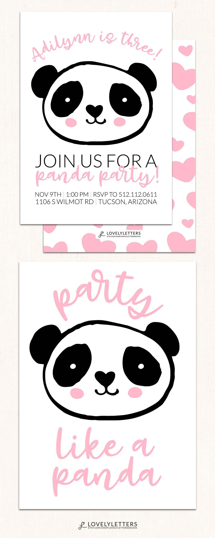 Panda Birthday Invitation / DIGITAL / Panda Party Invitation / Panda ...