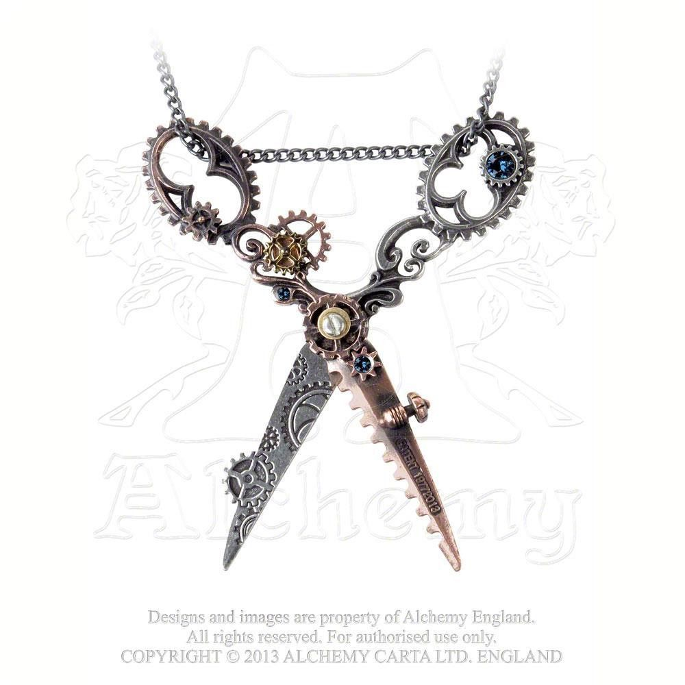 "Large Scissor Necklace Pendant Antique Victorian Hairdresser Artist 24/""Chain *UK"