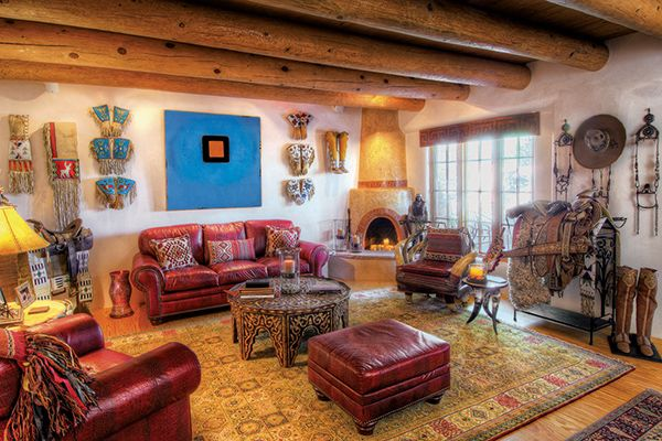20 Blue Living Room Design Ideas: Red And Turquoise Native American And Vacqero Inspired