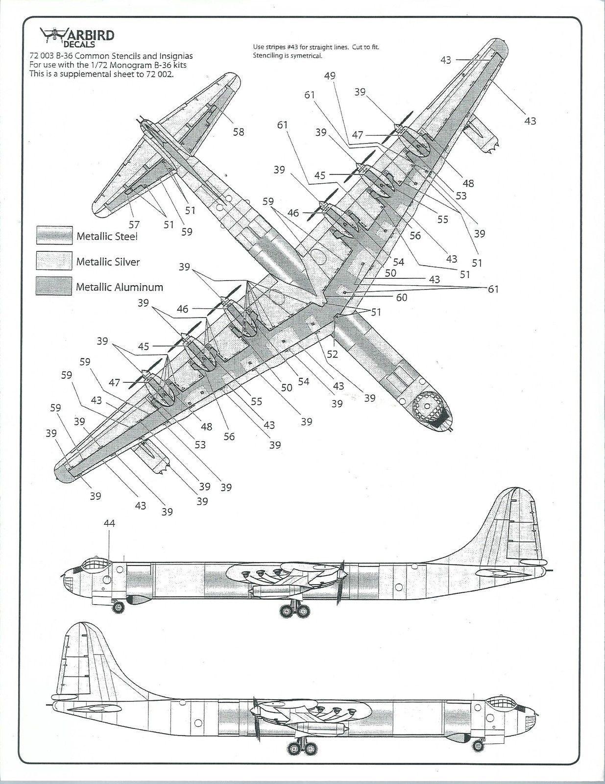 Warbird B-36 Peacemaker Walkway, Stencil, Data, Common Marking ...