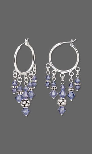 Jewelry Design - Earrings with Swarovski Crystal and Antiqued Sterling Silver Beads - Fire Mountain Gems and Beads