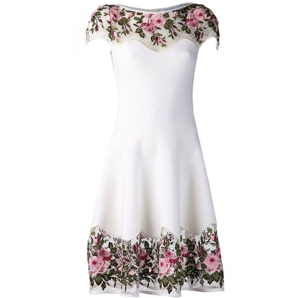 BLUMARINE floral macrame dress ($1,785) ❤ liked on Polyvore featuring dresses, short dresses, floral mini dress, crochet mini dress, floral print dress and mid length dresses