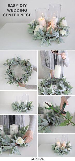 Einfaches DIY-Hochzeitsmittelstück mit künstlichem Grün und Zylinder-Vasen #weddingideas