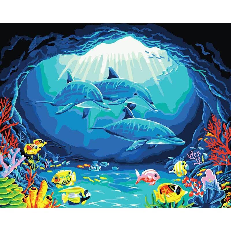 malen nach zahlen  delfine in höhle  malen nach zahlen