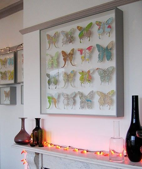 Large Map Paper Butterfly Wall Art by casey