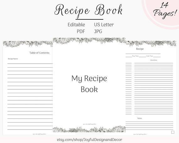 Printable Recipe Book Editable Recipe Binder 8 5 X 11in Recipe