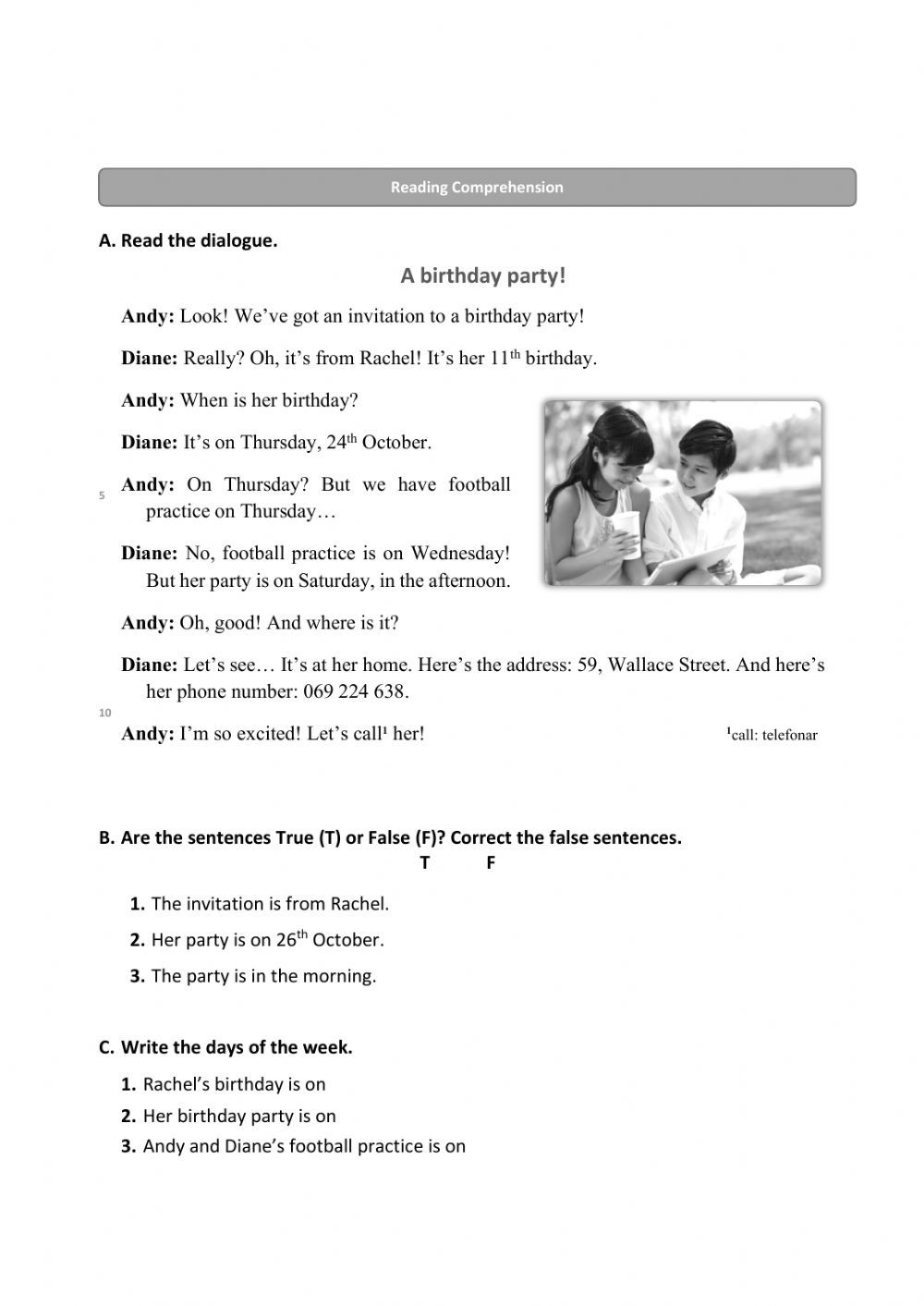 Reading Comprehension A Birthday Party Worksheet In 2021 Reading Comprehension Comprehension Close Reading Comprehension [ 1413 x 1000 Pixel ]
