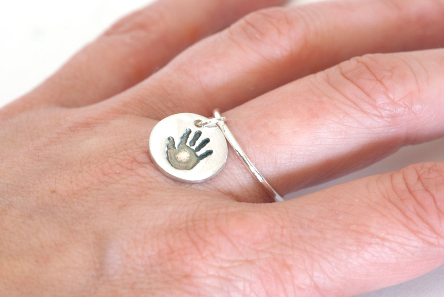 oval footprint ring jewellery handprint rings heart or on mod hand baby