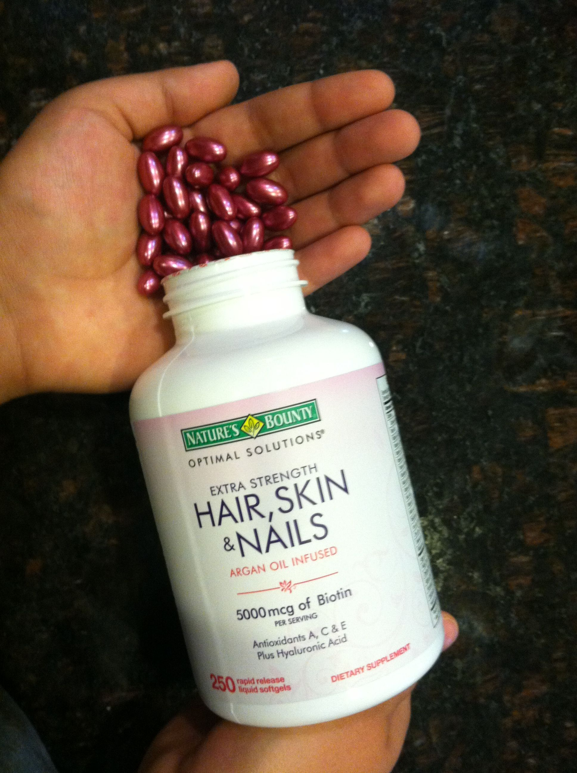 This Vitamin Strengthens Hair Skin And Nails And Works Great I Got These At Costco The Color Is Soooo Pretty Hair Vitamins Hair Skin Nails Beauty Skin Care