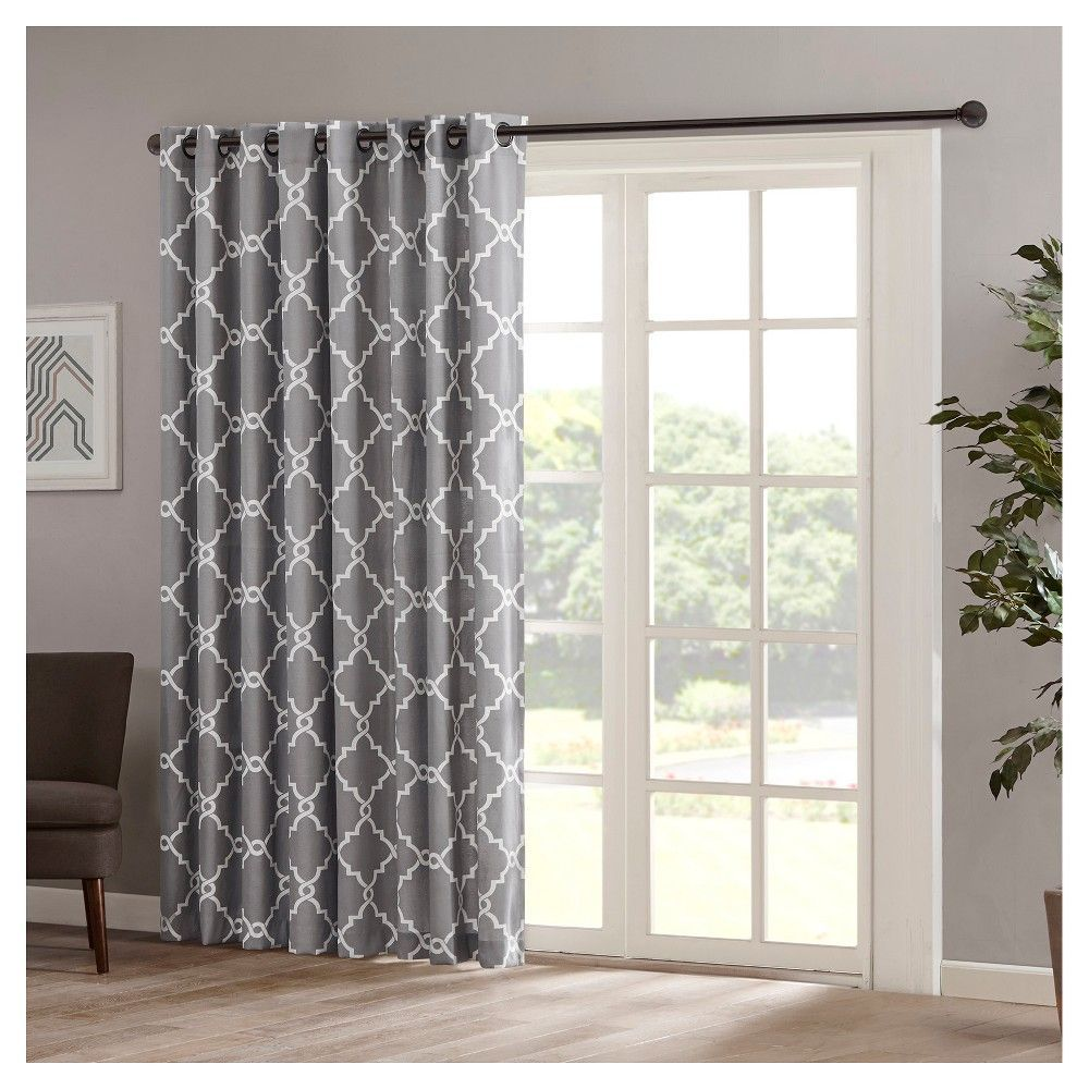 Sereno Fretwork Print Patio Curtain Panel Grey 100x84 Products