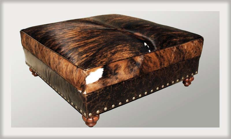 Stupendous Gringo Western Cowhide Ottoman Western Ottomans Cowhide Andrewgaddart Wooden Chair Designs For Living Room Andrewgaddartcom