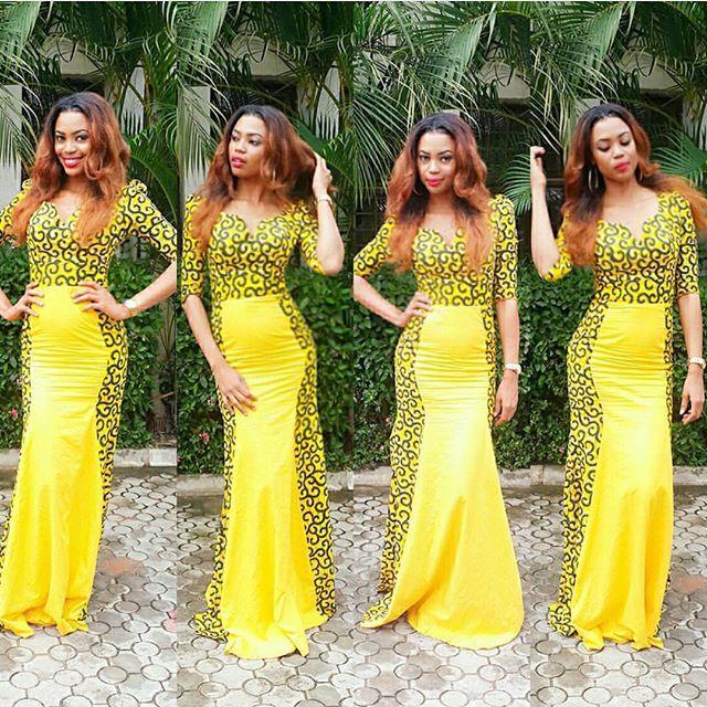 yellow ankara long gown ~African fashion, Ankara, kitenge, African women dresses, African prints, Braids, Nigerian wedding, Ghanaian fashion, African wedding ~DKK