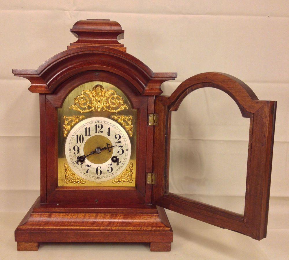 Antique Junghans Mantel Clock A10 160 Movement Great Wood Case Runs Strikes Mantel Clock Clock Wood Case