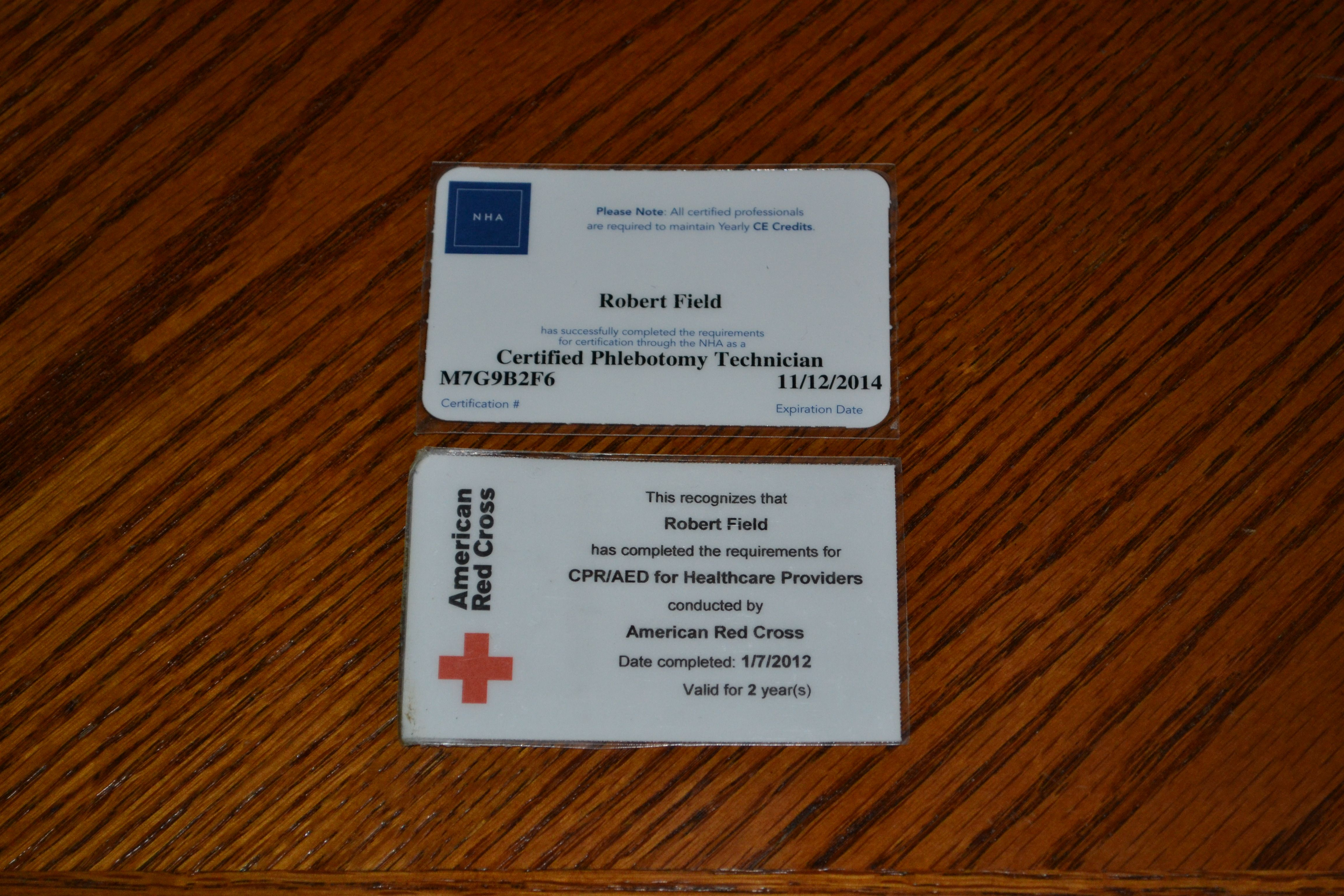 National Phlebotomy And Cpraed Certifications 2012 American Red