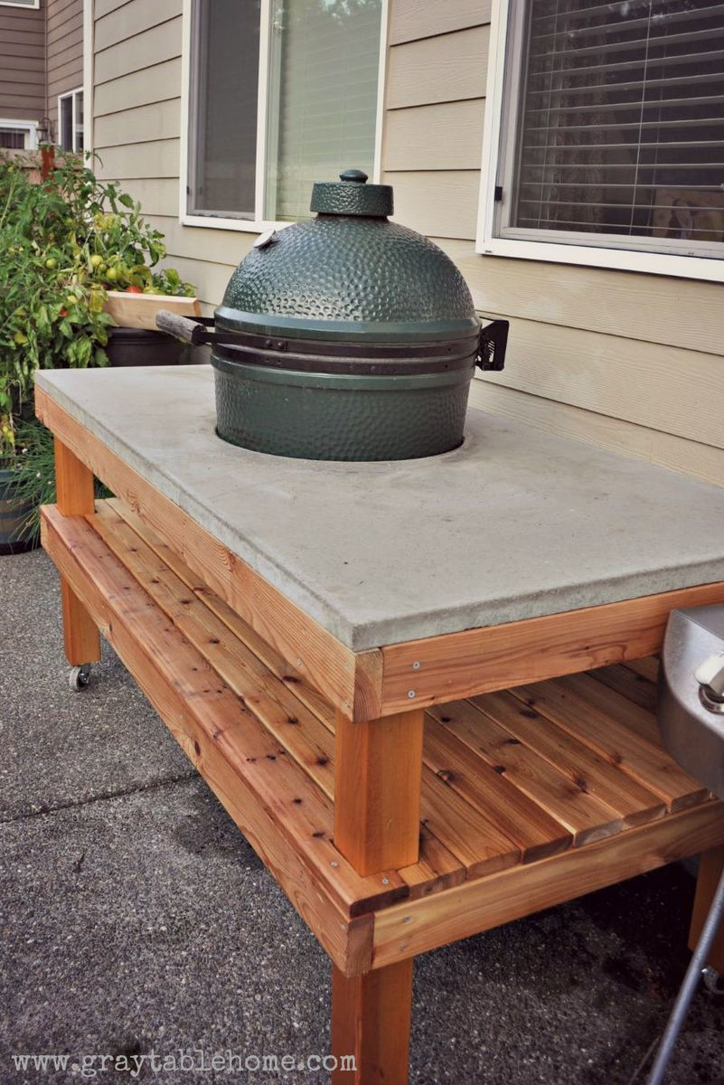 Diy Big Green Egg Grill Table With Concrete Top Ana White With Images Big Green Egg Outdoor Kitchen Big Green Egg Grill Grill Table