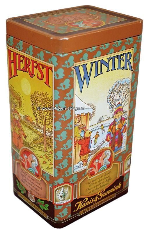 """Vintage Koffieblik Kanis en Gunnink. Jaargetijden Koffieblik van Kanis en Gunnink met mooie afbeeldingen van de vier jaargetijden. Tekst op deksel: """"Alle seizoenen, het hele jaar  staat de koffie van Kanis en Gunnink voor u klaar"""". zie: http://www.retro-en-design.nl/a-43625478/blikken/vintage-koffieblik-kanis-en-gunnink-jaargetijden/"""