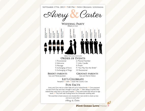 Silhouette Wedding Program Printable Pdf The Avery Colored