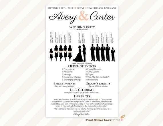 PRINTABLE Silhouette Wedding Program •