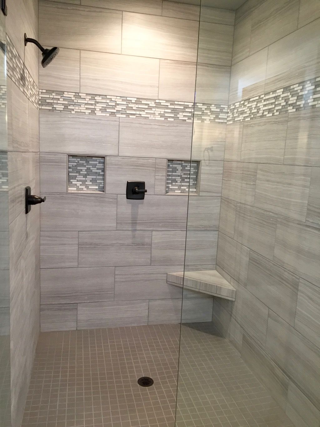 who needs a spa day when you have a bathroom like this this walk in tile shower is from one of. Black Bedroom Furniture Sets. Home Design Ideas