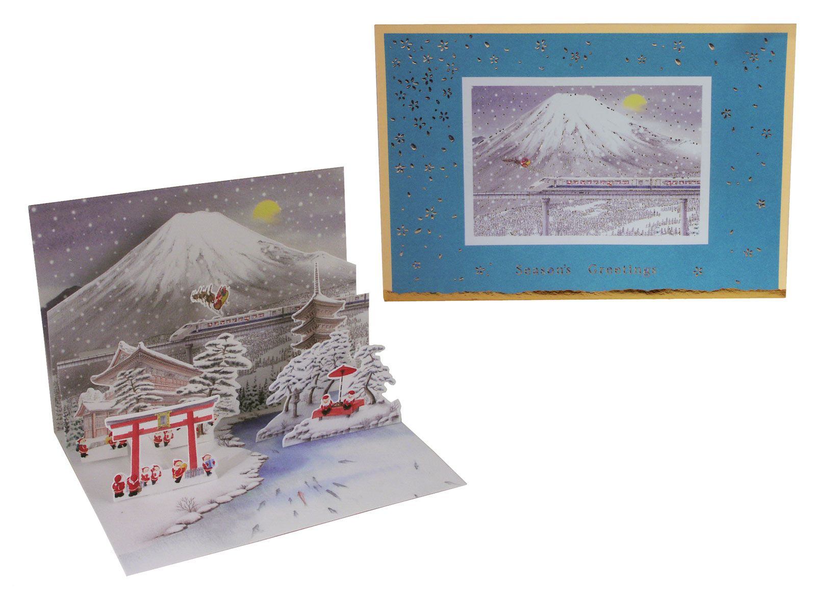 Hiking Santas at Mount Fuji Cute Pop up Japanese Christmas Card ...