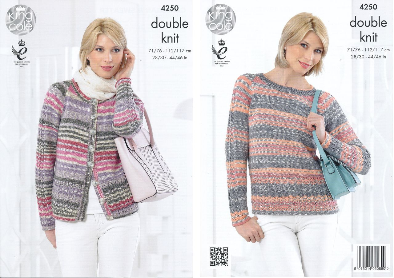 e6dbd9227 King Cole Double Knit Pattern - Ladies Lace Sleeve Cardigan   Sweater  (4250) -