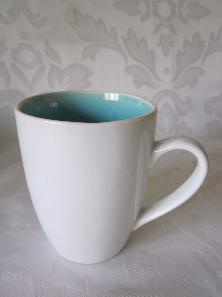 ARTISTIC ACCENTS BY ROSCHER CRACKLE GLASS AQUA WHITE SET OF 2 MUGS ...