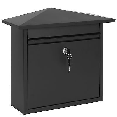 Hartleys Lockable Black Steel Wall Post Box Letter Mail Large Mailbox Letterbo View More On The Link Http Www Zeppy Io Product Gb 2 232005530429