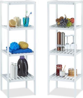 relaxdays 2er Set Bambusregal in weiß für Küche und Bad hohes