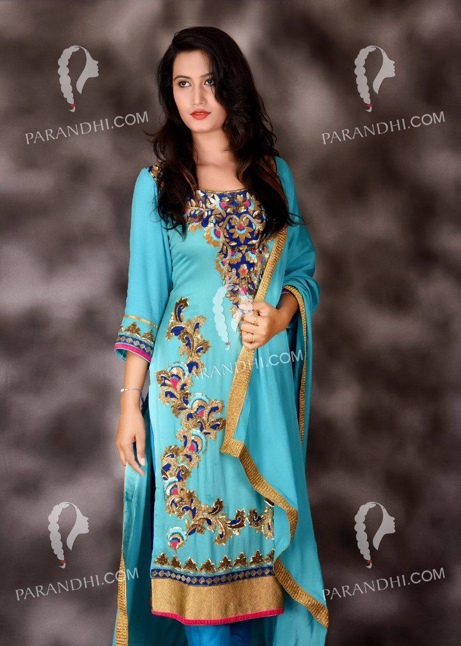 Lady In Blue Suit-7076 | Women clothing | Pinterest | Indian attire ...