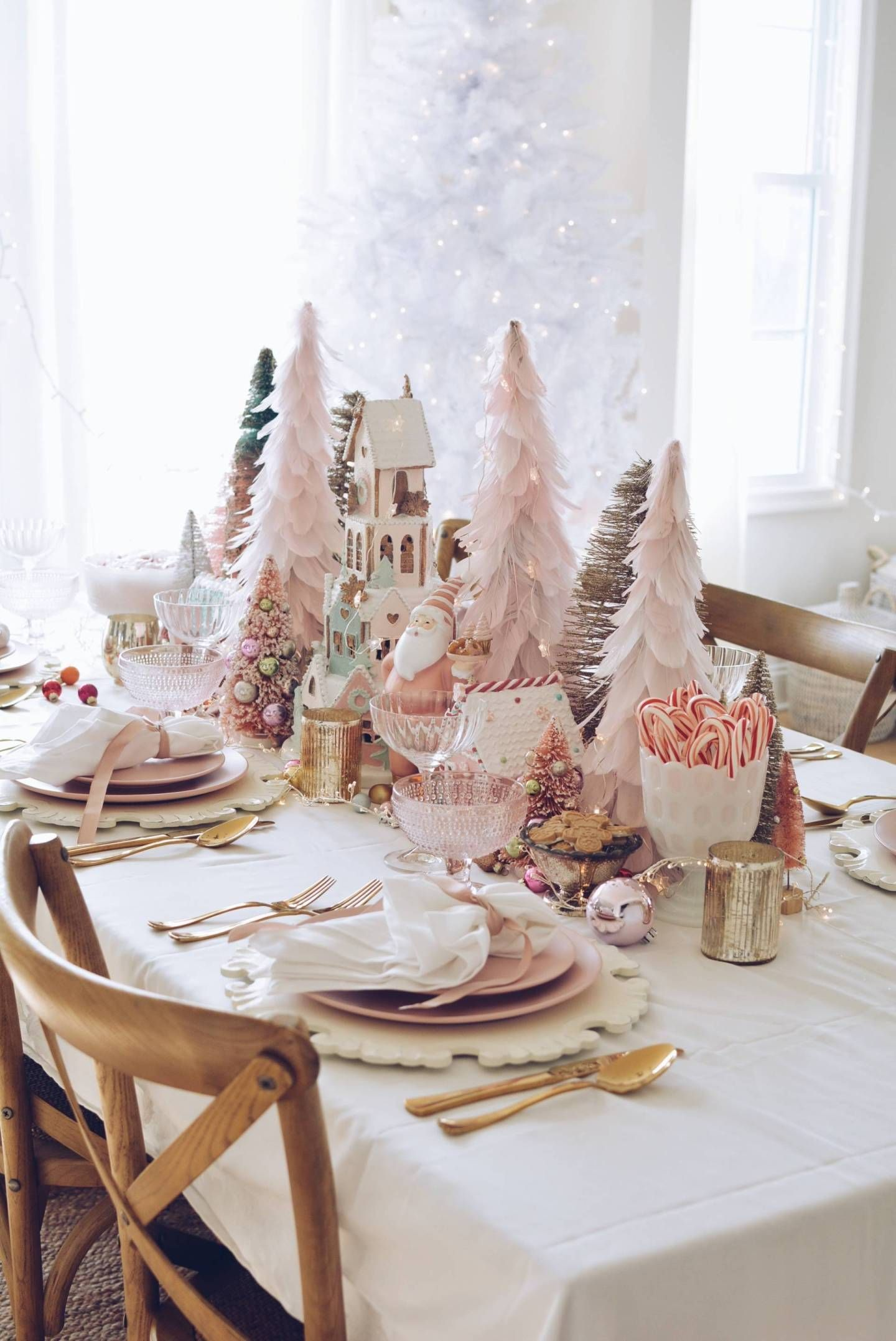 Pink Christmas Table Decorations A Pink Wonderland Dinner Christmas Table Decorations Table Decorations Pink Christmas