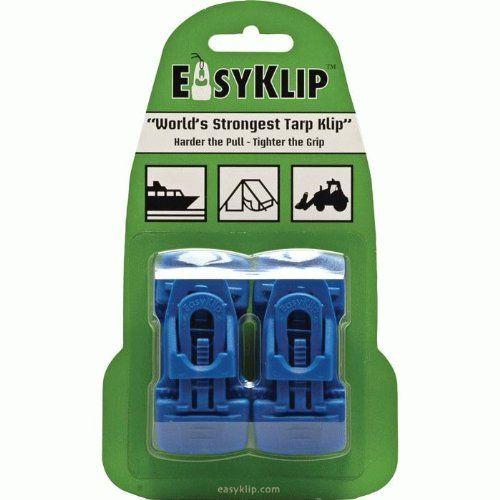 EasyKlip 4104 Midi Tarp Clip, Blue by Easyklip. $13.65. Simple fast and effective means of replacing eyelets or creating fixing points without the need for tools or special skills. Unique wedge-lock design that actually tightens the clips grip as it is pulled tighter or the load increases. Available in blue color. Highly effective clips for use on tarps clear poly sheets all types of fabric and anytime a method of fastening is required. These clips perform well on hemm...