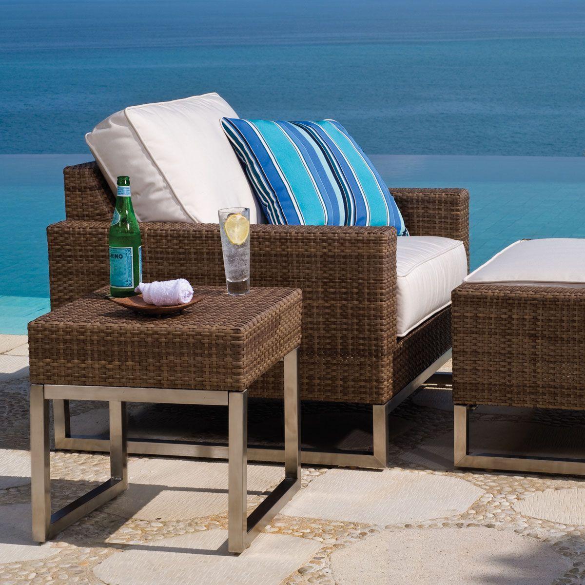 Thos. Baker Palms Wicker Aloha Sesame Cushion Outdoor Club Chair