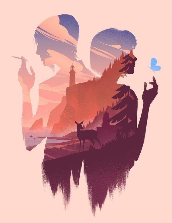 Life is Strange art print, Arcadia Bay poster, Chloe Max Silhouette