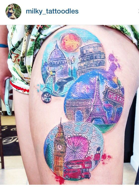 Joanne Baker milky-tatoodle watercolor city tattoo