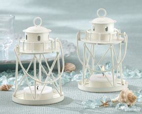 Adorable lighthouse candle holders that can be used for decorating a nautical themed party http://www.embracinghome.com/baby/under-the-sea-baby-shower-invitations/