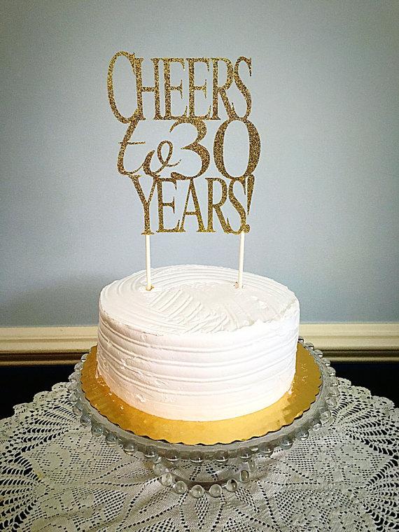 Cheers To 30 Years Glitter Cake Topper Birthday Milestone Any Year Anni
