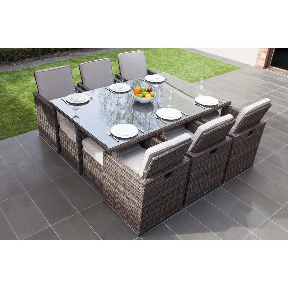 Santa Anita 11 Piece Cast Aluminum Patio Dining Set W 92 X 42 Inch Rectangular Extension Table By Darlee Bbqguys Modern Patio Furniture Patio Furniture Sets Outdoor Dining Room