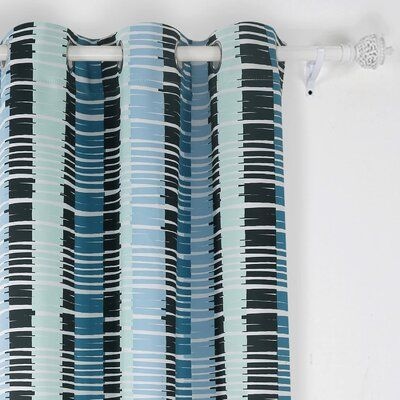 Latitude Run® Blackout curtains grommet with fashionable horizontal stripe modern curtains soft, smooth and colorful, blackout curtains are crafted with premium quality polyester fabric and have an added black lining layer and a white back layer that give the panels a distinct look and style. Curtain Color: Light Blue, Size per Panel: 42