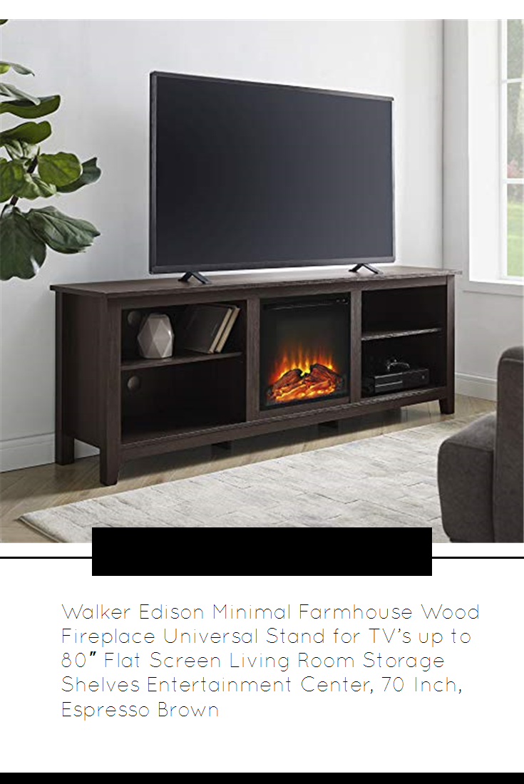 Walker Edison Minimal Farmhouse Wood Fireplace Universal Stand For