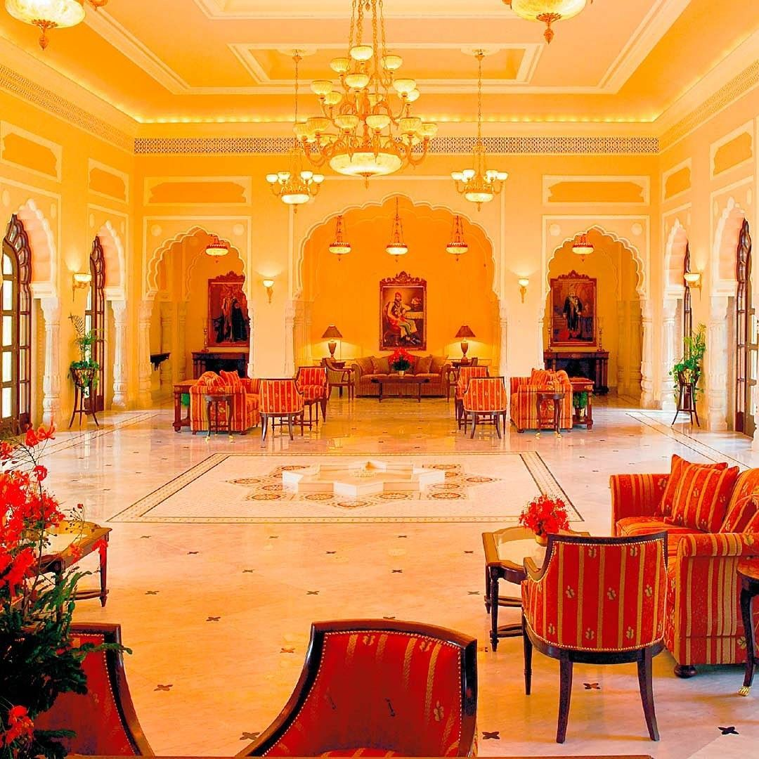 The Lobby At Rambagh Palace In Jaipur India Once The Residence Of The Maharaja Of Jaipur Now A Luxurious 5 Star Hotel Rambaghpalac Palace Hotel Hotel Palace