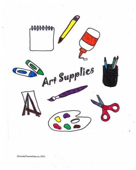 Art Supplies Coloring Page Free Printable Art Art Theme Art Terms