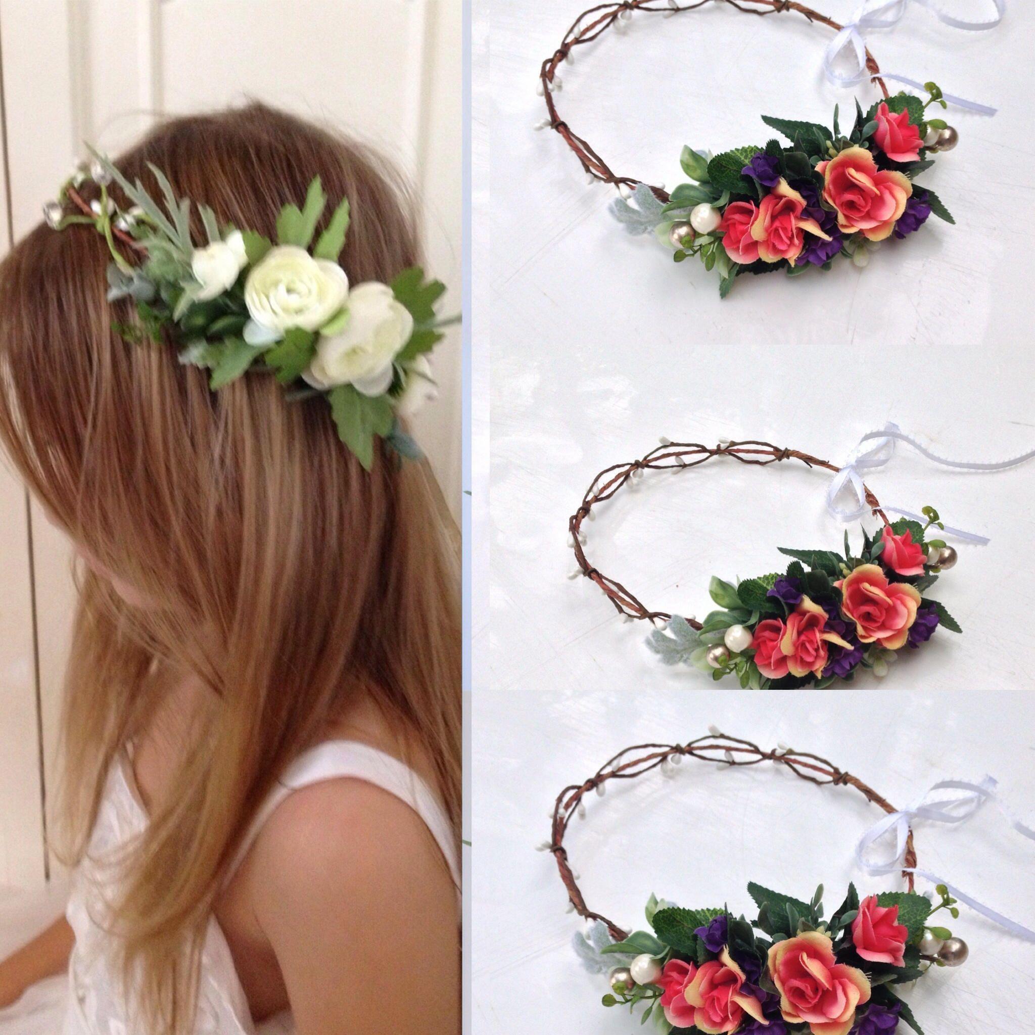 Fall Flower Crown Coral Flower Crown Adult Bridal Crown Flower Girl