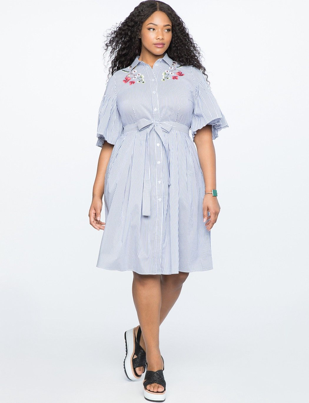 Eloquii Pleated Sleeve Fit Flare Shirtdress Bluewhite Pinstripe