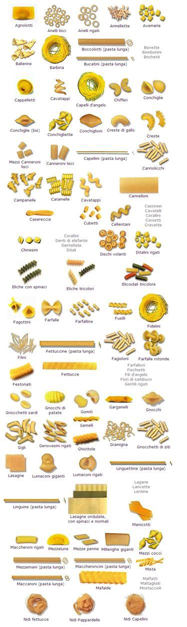 Pasta Shapes | Shape, Pasta and Pasta types
