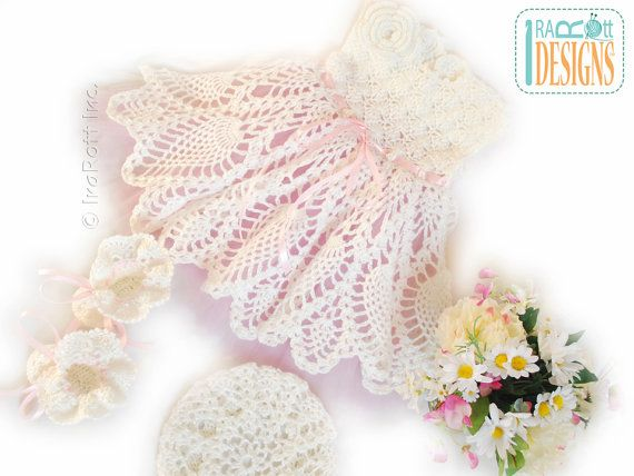 Pattern Ivory Dream Christening Gown Baby Dress Booties Beret