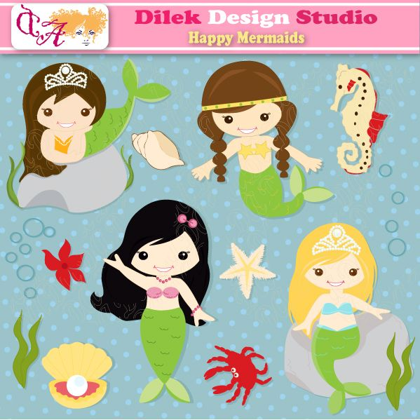 Dilek Happy Mermaids clipart perfect for your craft project, scrapbooking, invitation, web design, paper product, design card and everything else.  Great for cute announcements web store fronts, blog design or simple enough for embroidery
